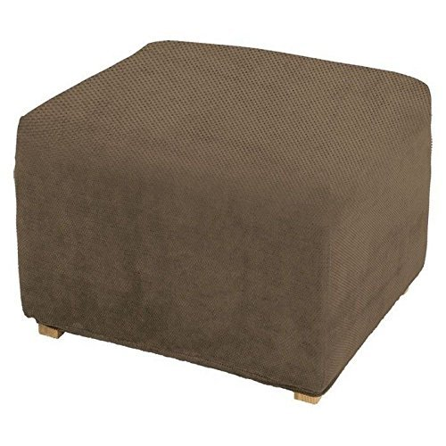 SureFit Stretch Pique 1-Piece - Ottoman Slipcover  - Taupe (SF29809)