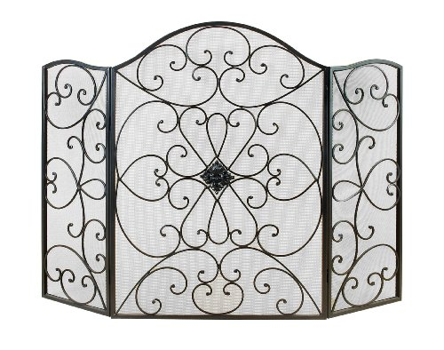 Benzara 21626 Metal Fire Screen Ultimate in Fire Protection