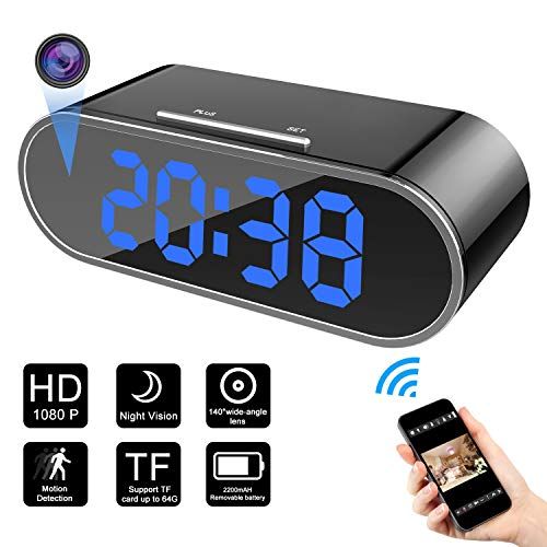 Hidden camera – Spy Camera Wireless Hidden – 1080P Spy Camera Clock – Hidden Nanny Cam for Home Security – Strong 12 Night vision lights Home WiFi Security Cameras with Motion Detection -Remote vision