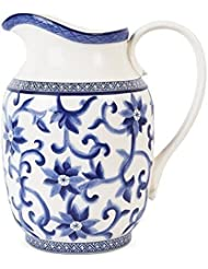 Large Ralph Lauren Mandarin Pitcher Blue White Porcelain