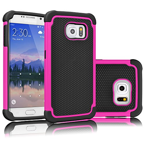 Tekcoo for Galaxy S6 Case, [Tmajor Series] [Hot Pink/Black] Shock Absorbing Hybrid Rubber Plastic Impact Defender Rugged Slim Hard Case Cover Shell for Samsung Galaxy S6 S VI G9200 GS6 All Carriers