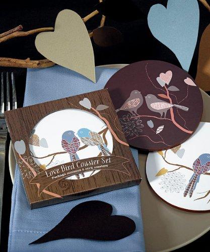 Wedding Star 9097 Love Birds Cork Back Coaster Set in Gift ()