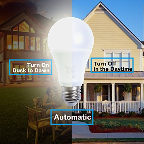 Sensor Lights Bulb Dusk to Dawn LED Light Bulbs Smart Lighting Lamp 7W E26/E27 Automatic On/Off, Indoor/Outdoor Yard Porch Patio Garage Garden (Warm White, 2 Pack) by Vgogfly (Image #4)