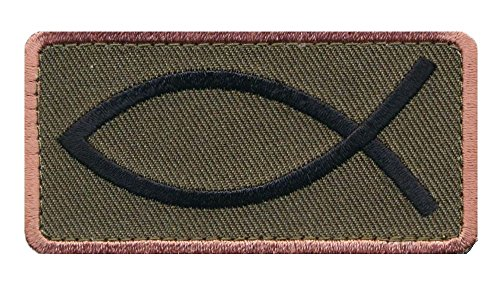 Jesus Fish Christian Army Crusader Ichthys Hook Patch (Grn Hook)