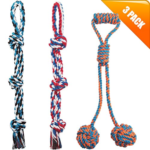 - KOOLTAIL XL Rope Dog Toys - 3 Pack Durable Interactive Ball Chew Toy for Strong Aggressive Large Dogs