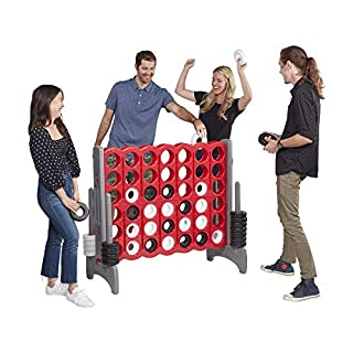 ECR4Kids Jumbo 4-to-Score Giant Game Set, Backyard Games for Kids, Indoor/Outdoor Connect-All-4, Adult and Family Fun Game, 43 Inches Tall - Red and Gray (Game Only)