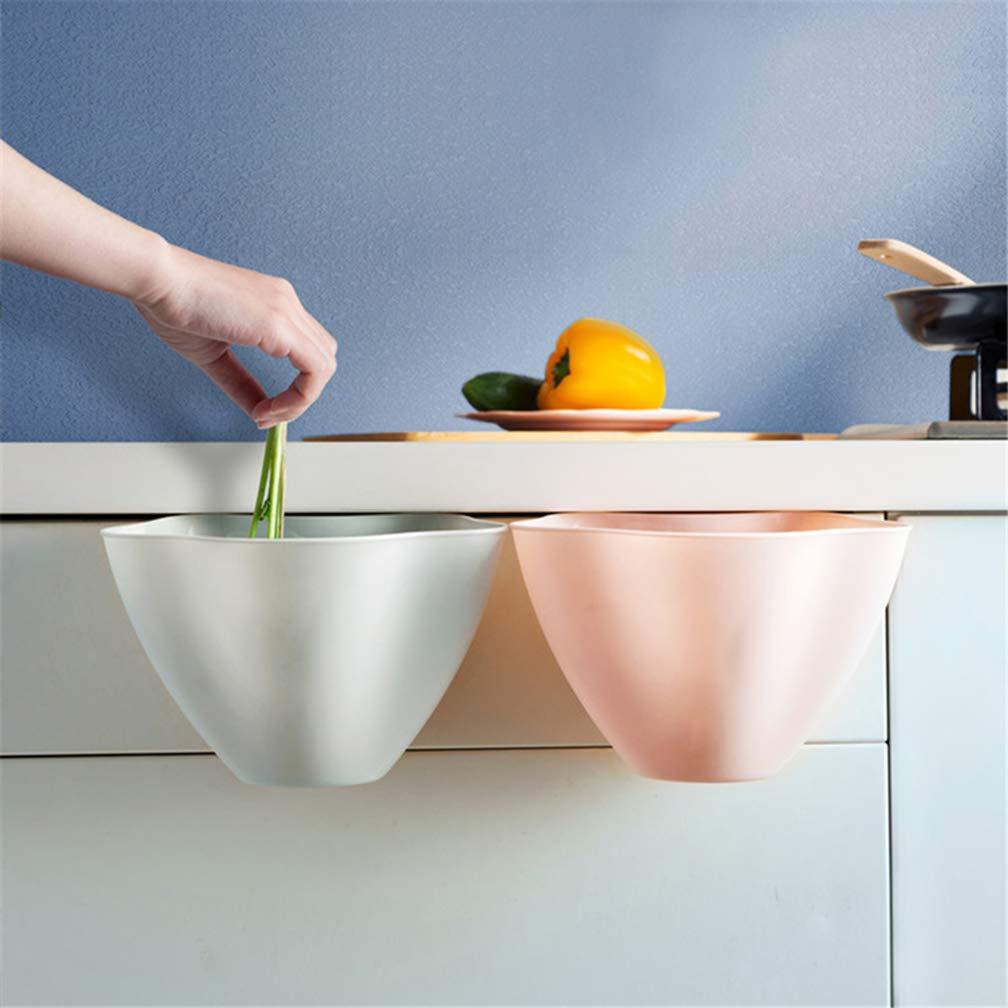 Rehystg 1PCS cucina cestino appeso Garbage Storage Bin plastica spazzatura Container for home 21 * 16 * 14cm White