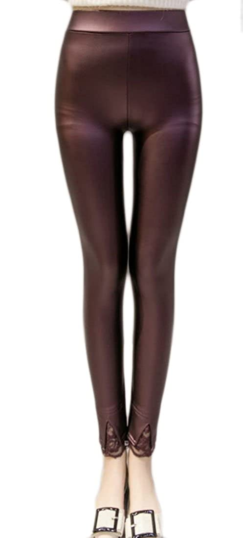 ouxiuli Womens Slim Fit Faux Leather Lace High Waisted Leggings