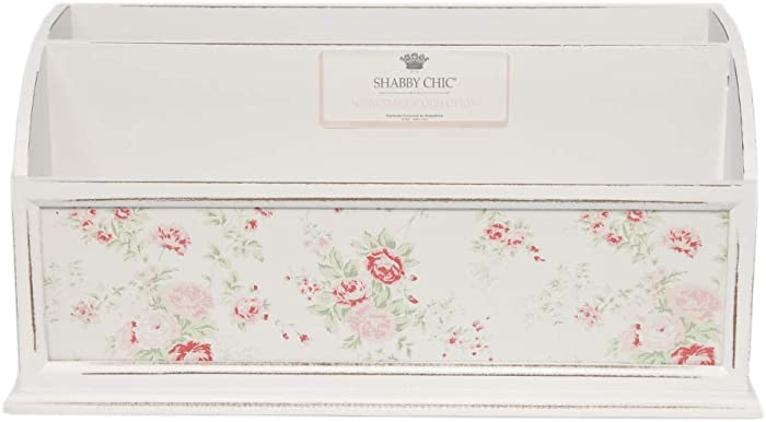 Shabby Chic by Designstyles Desktop File Holder - 2 Compartment Decorative Letter, Mail and Stationary Organizer Stylish White MDF Wood with Pink Floral Design - Table Top Décor for Home and Office