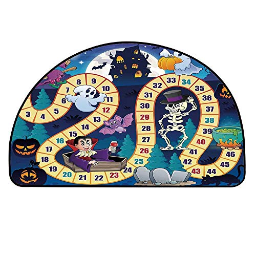 YOLIYANA Board Game Semicircle Rug,Halloween Theme Symbols Happy Witch Girl Vampire Ghost Pumpkins Happy Comic Floor Mat,19.6