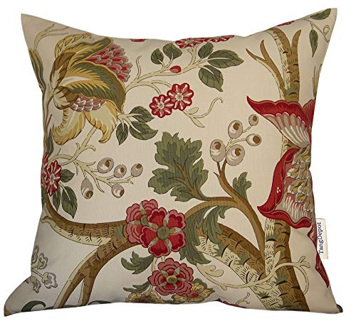 Pillow Floral Throw - TangDepot 100% Cotton Floral Printcloth Decorative Throw Pillow Covers, Handmade,45 Colors,19 Sizes Avaliable, Indoor/Outdoor Square Cushion Cover - (18