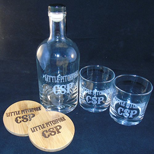Personalized Etched, Engraved Bourbon Whiskey Bottle, Whiskey Rocks Glasses and Bamboo Coasters Gift -