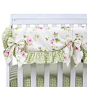 Brandream Crib Bedding Sets for Girls Floral Nursery Bedding with Long Crib Rail Cover 100% Soft Percale Cotton, 9pcs Perfect