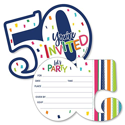 50th Birthday - Cheerful Happy Birthday - Shaped Fill-In Invitations - Colorful Fiftieth Birthday Party Invitation Cards with Envelopes - Set of 12