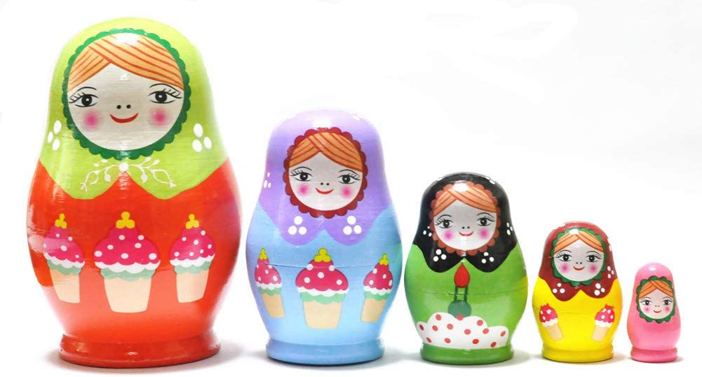 FinerMe Fine Work Russian Nesting Dolls Matryoshka Wood Stacking Nested Set 5 Pieces Handmade Toys for Children Kids Christmas Birthday Home Decoration Color C
