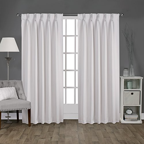 Exclusive Home Curtains Sateen Pinch Pleat Woven Blackout Back Tab Window Curtain Panel Pair, Vanilla, 52x108 (Pleat Curtains Pinch Sheer)