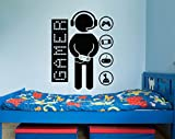 Gamer Wall Decal Vinyl Sticker Decals Game Controllers Gaming Video Game Boy Room Decor Bedroom Men Gift Nursery Dorm Gamer Gifts Decor x27