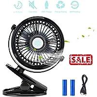 Iristide Rechargeable Mini Clip-on Fan, Portable 3-Mode Speed Desktop/Table USB Fan for Car Stroller Desk Tent, 360 Adjustable Silent Cooling (2 Batterries Included)