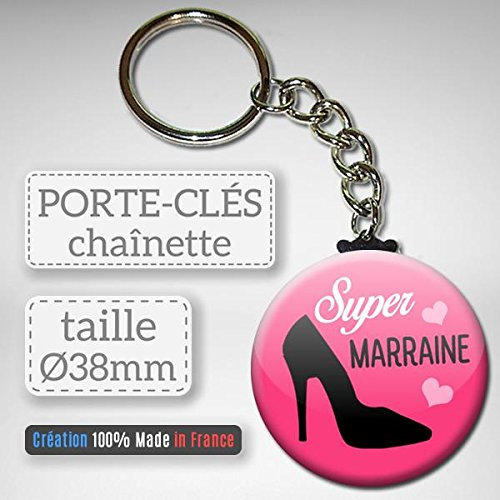 Super Marraine Porte Cl/és Cha/înette 3,8 centim/ètres Id/ée Cadeau Accessoire Bapt/ême Communion No/ël