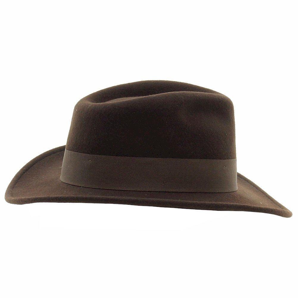 Indiana Jones Men s Wool Felt Water Repellent Outback Fedora with Grosgrain  at Amazon Men s Clothing store  Indiana Jones Hats ed7aa43d5730