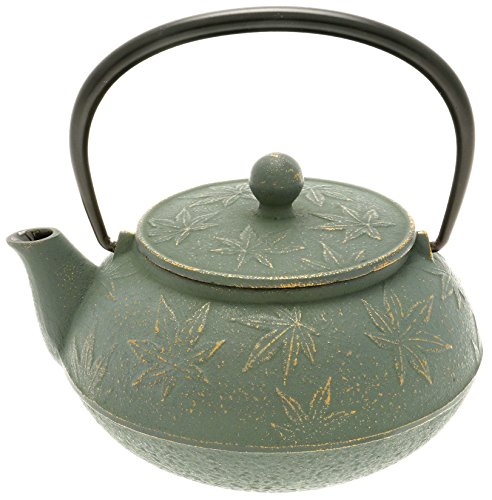 Iwachu Japanese Iron Tetsubin Teapot with ''Bronze'' Maple Leaf, Gold/Patina Green by Iwachu