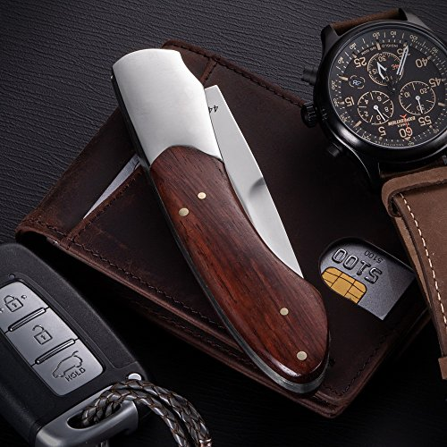 Folding Pocket Knife - Folding Knife - EDC and Outdoor Fold Classic Stainless Steel Polished Bowie Blade with Wooden Handle - Best Strong Pocket Knife for Urban and Hiking - Grand Way 4154 W by Grand Way (Image #2)
