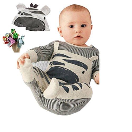 Culater Niedlich Neugeborenen Kleinkind Baby Jungen Mädchen Strampler + Hut Overall Bodysuit Kleidung Outfit Kleidung-Set (0-3 Monate, Gray)+4PCS Fingerpuppen