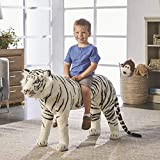 FIESTA CONCESSION White Tiger Ride-On Oversized Stuffed Animal — 40in.
