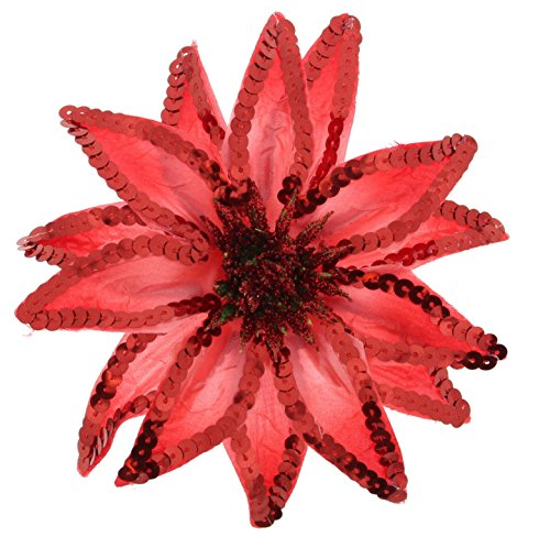 Hat Jewelry Red Pins (Women's Christmas Pointsettia Sequin Flower Pin, Clip, Hair Tie (Red))