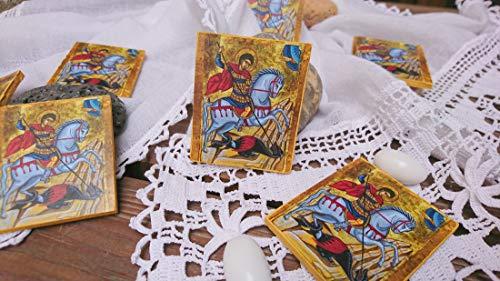 (Saint George icons baptism favors- 10 pcs guest gifts mini favor greek orthodox bomboniera baby boy or girl)