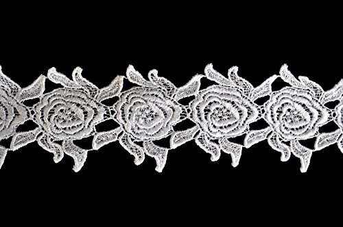 (Altotux 3 inches White Rose Flower Venice Lace Trim By Yard)
