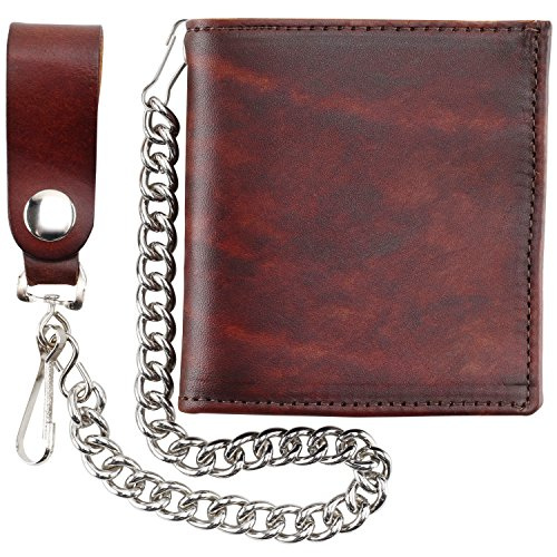 Mens Top Grain Leather Hipster Steel Chain Wallet,Made in USA,BROWN,AT802