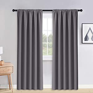 PONY DANCE Blackout Thermal Curtains - Light Blocking Window Treatments Drapes Home Decor Rod Pocket Curtain Panels & Draperies for Living Room, 52 x 84 Inches, Gray, 2 Pieces