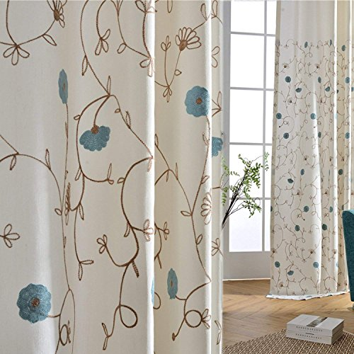Cheap Anady Top Blue Flower Curtains Embroidered Drapes Elegant Decro Curtains Drapes for Living Room Grommet 96 inch Long(Customized Available)