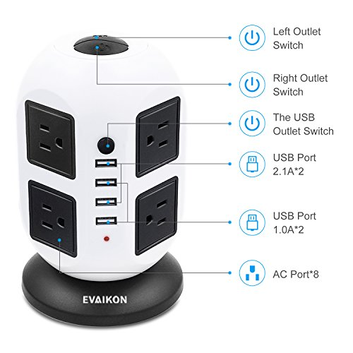 Power Strip Tower - EVAIKON Extension Cord with 8 Outlet 4 USB Ports 2500W/10A 6.5 FT Surge Protector Vertical Charging Station Multi Outlet Wire Extension Universal Socket for Home Office by EVAIKON (Image #4)