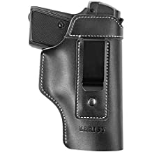 Lirisy Leather IWB Holster | Inside The Waistband Concealed Carry Gun Holster for Glock 17 19 22 23 32 33 / S&W M&P Shield/ Springfield XD XDS and Similar Handgun Pistols