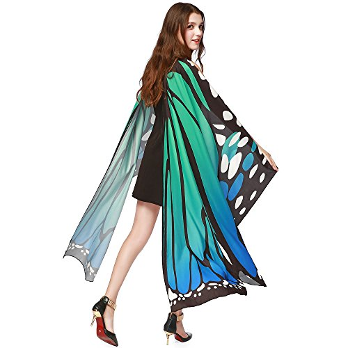 Yezijin 2019 New Women Butterfly Wings Shawl Scarves Ladies Nymph Pixie Poncho Costume Accessory Under 5 Dollars Blue]()