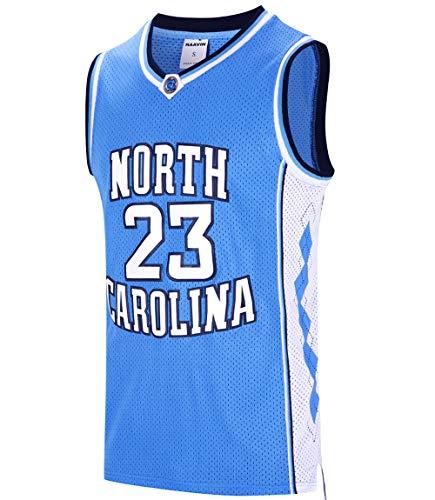 RAAVIN #23 North Carolina Mens Basketball Jersey Retro Jersey Blue S-3XL (Blue, Medium)
