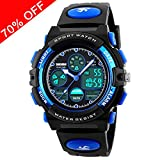 Viliysun Kids Watch 50M Waterproof Sport LED Alarm Stopwatch Digital Child Quartz Wristwatch for Boy Girl Blue