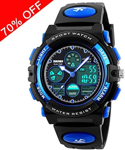 Viliysun Kid Watch 50M Waterproof Sport LED Alarm Stopwatch Digital Child Quartz Wristwatch for Boy Girl Blue