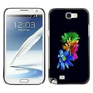 // PHONE CASE GIFT // Duro Estuche protector PC Cáscara Plástico Carcasa Funda Hard Protective Case for Samsung Note 2 N7100 / Flores coloridas /