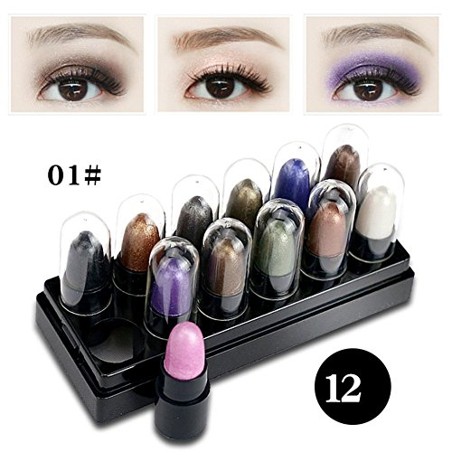 Sunsent 12 Colors Shimmer Eyeshadow Sets Highlight Glitter W