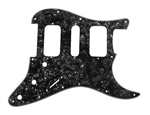 (920D Strat 3 Ply HSH Pickguard Fender Stratocaster CNC Cut, Black Pearl)