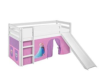 Etagenbett Hochbett Spielbett Kinderbett Jelle 90x200cm Vorhang : Lilokids spielbett jelle eiskönigin hochbett mit rutsche und
