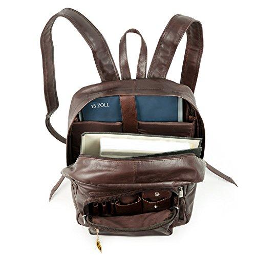 Großer Lederrucksack Größe L / Laptop Rucksack bis 15,6 Zoll, für Damen und Herren, aus Büffel-Leder, Beige-Braun, Hamosons 514 Dunkel-Braun