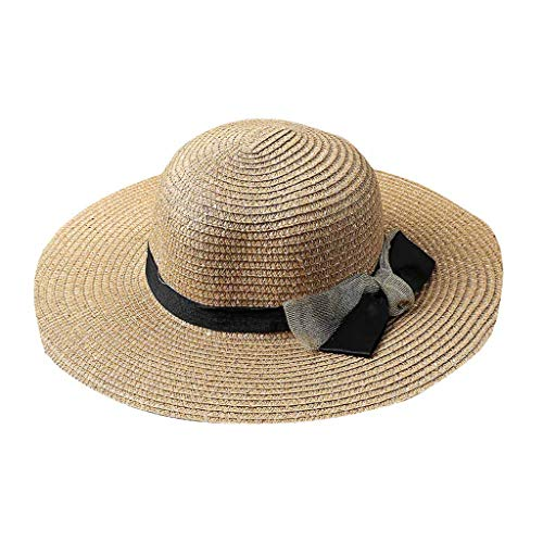 (HAPIGOOD Women Solid Color Wide Brim Floppy Sun Hat Casual Beach Straw UV Protection Fishing Outing Cap (Khaki))