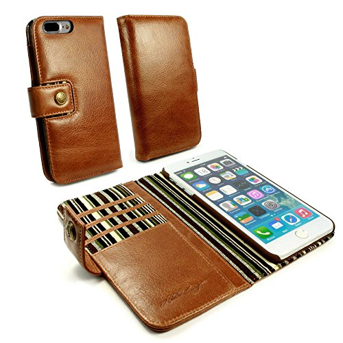- Alston Craig Personalised Vintage Genuine Leather Wallet Case Cover for Apple iPhone 8 Plus - Brown