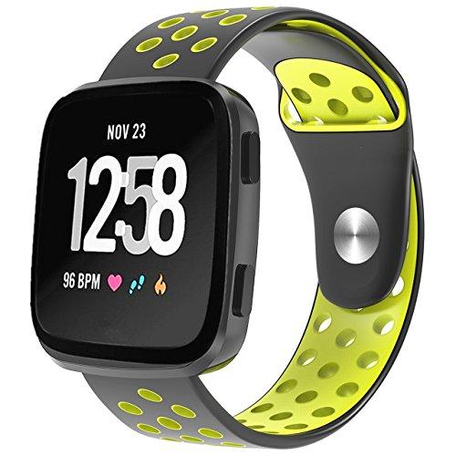Moretek Versa Wrist Strap, Perforations Breathable Soft Band Sport Silicone Straps Wristbands Fit bit Versa Women Men Smart Watch Fitness Protect Case (BlackYellow, Large)