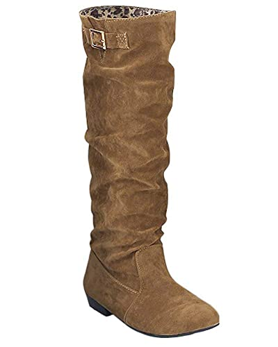 Minetom Mujer Otoño Invierno Botas de Gamuza Botines de Tacón Bajo Botas de Nieve Moda Zapatos Planos: Amazon.es: Zapatos y complementos
