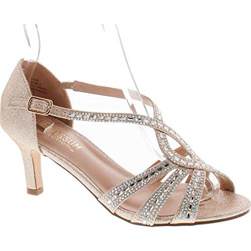 De Fiore Valerie-3 Donna Tacco Basso Croce Strass Strappy Abito Da Ballo Prom Sandal Scarpe Valerie-3 Nude